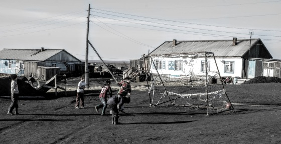 Children playing football in Novaya. Will they inheret the commercial hunt of the future? (Photo: Dorothee Ehrich)